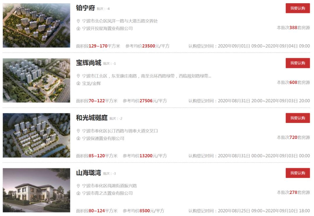宁波市区新一批新盘认购登记 首现新盘0认购